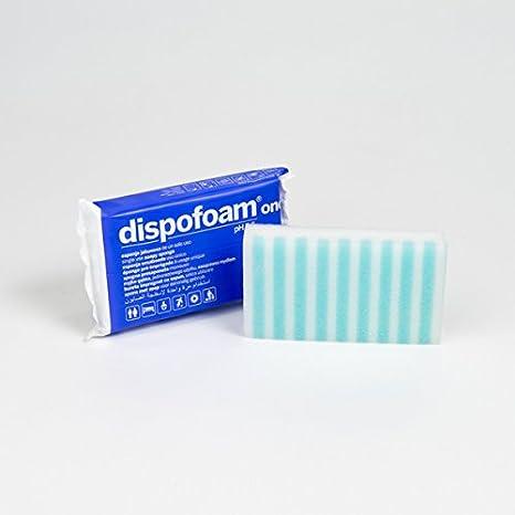 Dispofoam One Esponja jabonosa desechable para pieles sensibles, 13x8x2,5 cm. Pack de 10 uds.