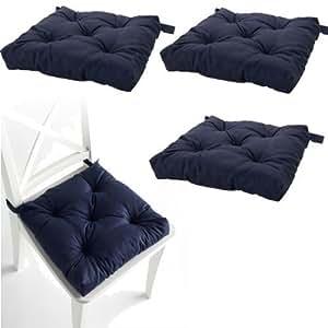 Amazon.com: Set of 4 Navy Blue Chair Cushions Pads Machine ...