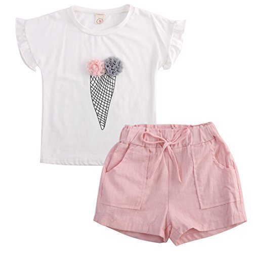 Girls Ruffle Flower T-shirt and Pink Pocket Shorts Clothing Set outfit Clothes (7-8Y), Tag 140 ()