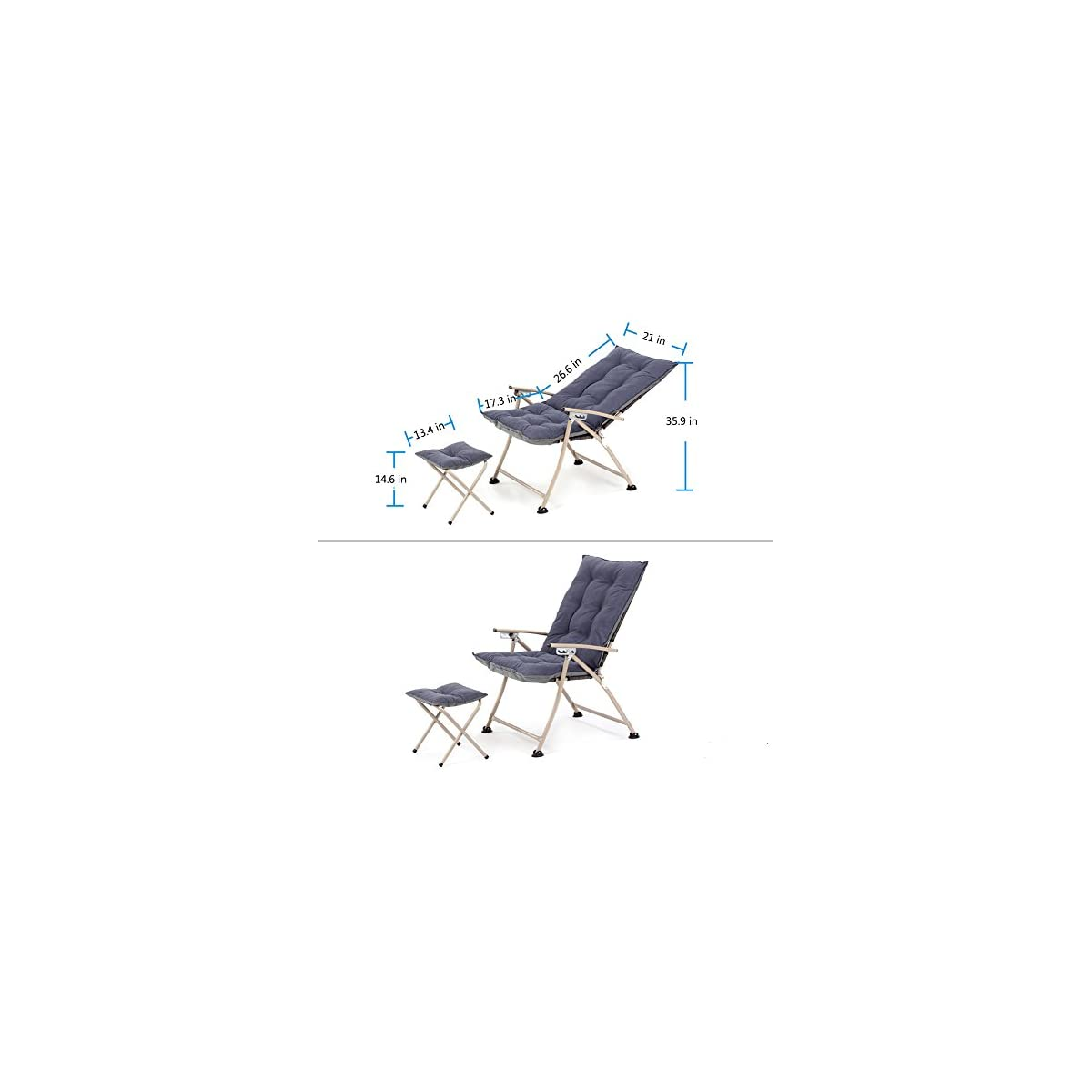 Pleasing Campland Deluxe Padded Reclining Chair With Footrest Adjustable Camping Fishing Folding Cushion Relax Lazy Chair Creativecarmelina Interior Chair Design Creativecarmelinacom