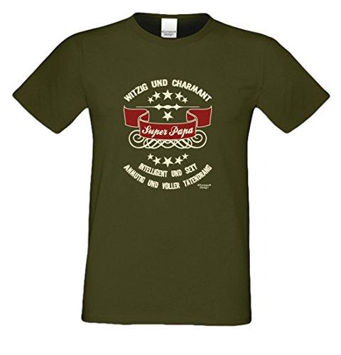 T-Shirt als Geschenk für den Vater - Intelligent und Sexy - Ein Danke für den Super Papa mit Humor zum Vatertag oder einfach so, Größe L Farbe 11-Khaki