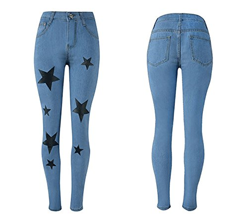 Jeans toiles Skinny d't Jeans Jeans Jeans imprim avec Pantalon Jeans Bleu Skinny Hipster Oudan Femme 8RqOB