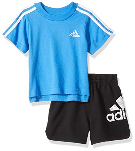 adidas Baby Boys Sleeve Tee and Short Set, Sport ADI Dark Blue, 24 Months