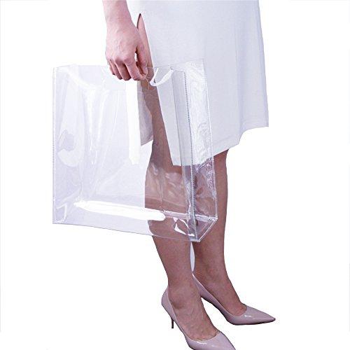 Claro Bolsa de la compra Seguridad Trabajo Tote Bolsa de hombro Mujeres Bolso de mano PVC Playa Oversize Cluth Bolso Claro Gran