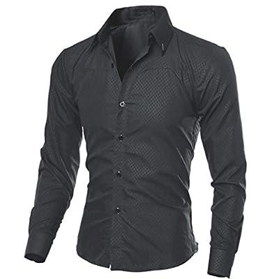 Realdo Mens Dress Shirt, Business Casual Turn-Down Collar Plaid Button Down Shirt Top