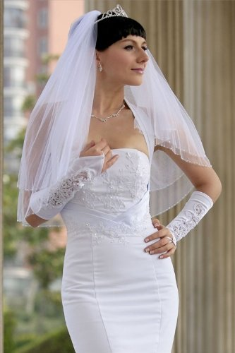 Bridal Veil Diamond (Off) White 2 Tiers Fingertip Length Edge Trimmed In Beads