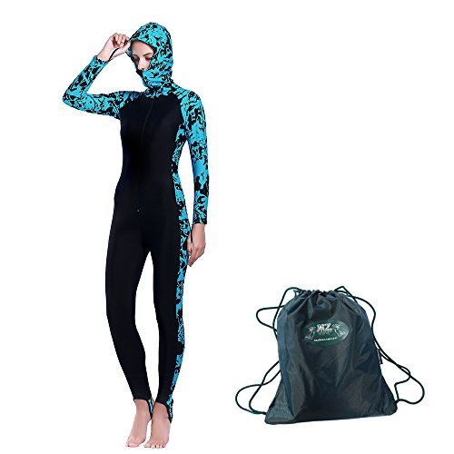 Wetsuit Skin Diving (MZ Garment Womens Wetsuit - Modest Full Body Diving Suit & Sports Skins for Running, Exercising, Snorkeling, Swimming, Spearfishing & Water Sports (blue, M for chest 32.5