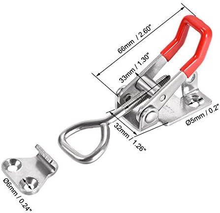 uxcell プルアクションラッチ キーホール付き 調整可能トグルクランプ 垂直クランプフック SUS304ステンレス製 220ポンド