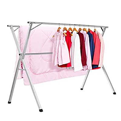 HYNAWIN Clothes Drying Racks Stainless Steel Laundry Drying Rack Heavy Duty Collapsible Folding Garment Rack - [Stainless Steel Drying Rack]: Made of stainless steel for durability, the lightweight, portable drying rack works well in any desired location, like a laundry room or bedroom--or even out on the back deck on a warm, sunny day. [Perfect for Home Use]: For crease-free clothes, the drying rack is a great storage solution to ensure your clothes keep that 'just ironed' look. It is perfect for you to separate different items and keep everything looking neat and tidy. [QUICK TO ASSEMBLE]: Drying rack is designed with a simple structure, you can install it in just 1 minute and get organized faster. - laundry-room, entryway-laundry-room, drying-racks - 41xSYSRpXsL. SS400  -