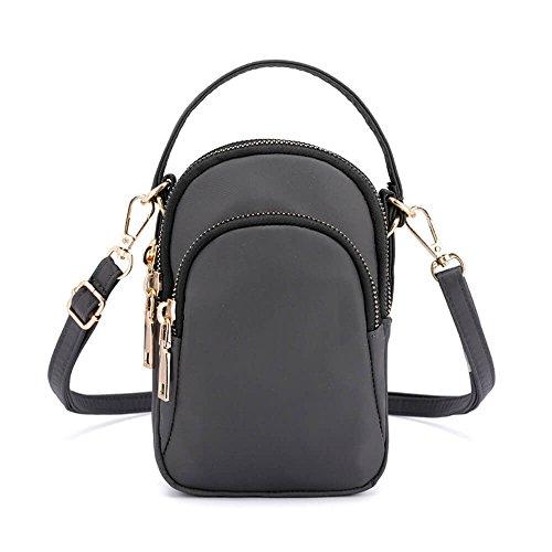 Women Portable Waterproof Grey Mini Nylon Bag Slot Solid Multi Bag Crossbody Phone 8p8rwq1
