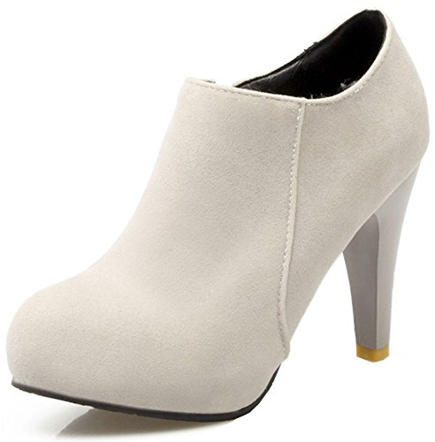 Easemax Women's Chic Faux Suede Round Toe Side Zipper High Chunky Heeled Platform Ankle High Boots Grey cHgY9GdHKs