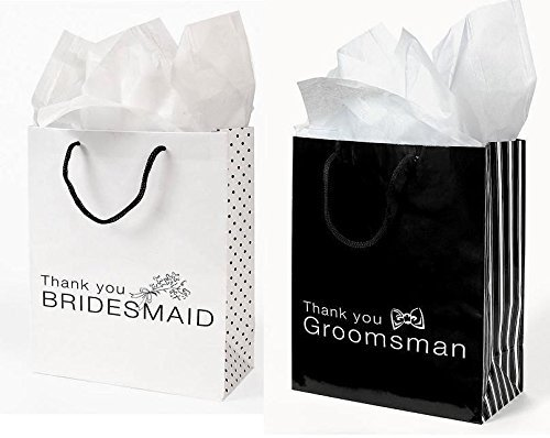 12 Pc Wedding party Gift Bag Assortment - Includes 6 Bridesmaid 6 Groomsman (MIXED) -