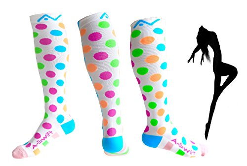Compression Socks (1 pair) for Women & Men - Best Graduated Athletic Fit for Running, Nurses, Flight Travel, & Maternity Pregnancy - Boost Stamina, Circulation & Recovery (Happy Dots, L/XL)