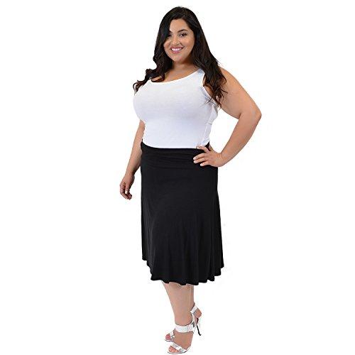 112ec171e4 85%OFF Stretch is Comfort Women's Plus Size Knee Length Flowy Skirt ...