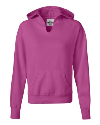 Comfort Colors - Ladies' Pigment-Dyed Frayed Hooded Pullover - 1595 - Raspberry - (Pigment Dyed Comfort Colors)