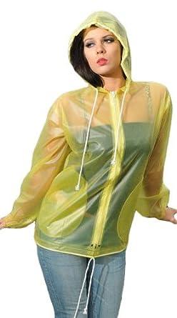 c4b3602c9 LADIES YELLOW RETRO STYLE RAINCOAT JACKET COAT FESTIVAL CAMPING RAIN 100%  PVC S/M PR21: Amazon.co.uk: Clothing