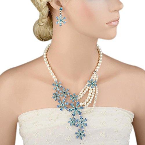 EVER FAITH® Plaqué Argent Flocon de Neige Perle Artificielle Cristal Parures Bijoux Creuse Bleu A12498-3
