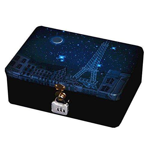 Desktop Storage Tin Box Tinplate Storage Box with Lock