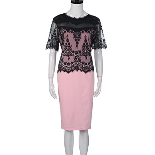 Party Lace Evening Lace Fashion Pencil G Sexy Women Pink Pencil Skirt Vintage Circle Patchwork Tian Collar Dress Bodycon Dress aHwq5Z