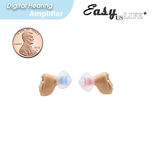Small Penny Sized  Left And Right Ear In The Canal  Itc   1 Pair New Digital Hearing Amplifiers    Ez 601 601F Sr  Clearly Technology Trademark  Easyuslife