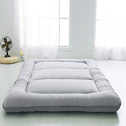 Japanese Floor Mattress Futon Mattress, Thicken Tatami Mat Sleeping Pad Foldable Roll Up Mattress Boys Girls Dormitory Mattress Pad Kids Floor Lounger Pillow Bed Couches and Sofas, Grey, Twin Size