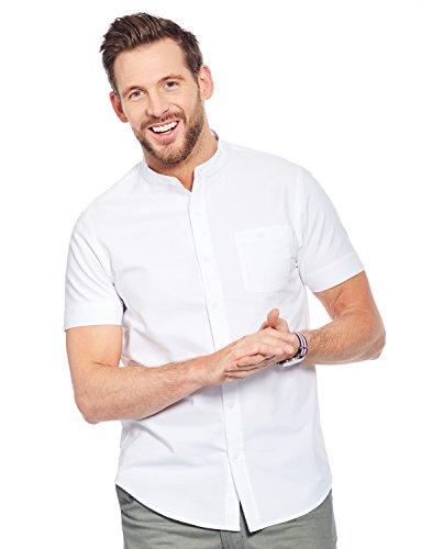 (Pegasus Mens Grandad Collar Short Sleeve Cotton Shirt White Large)