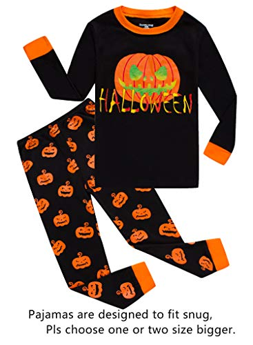 Halloween Pumpkin Little Boys Girls Pajamas Sets 100% Cotton Clothes Kids PJS Size -