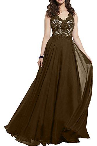 Damen Damen Spitze Elegant Kleider Royal Brautmutterkleider Abendkleider Charmant Blau Chiffon Braun Festliche 1wdqBBz