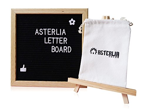 Changeable Felt Letter Board Sign Set Black-10x10 Inches Oak Frame, 374 Pieces Alphabets, Numbers & Symbols, Wood Stand Easel, and Canvas Bag- Display Personalized Messages Creatively- Asterlia Decor by Asterlia Decor