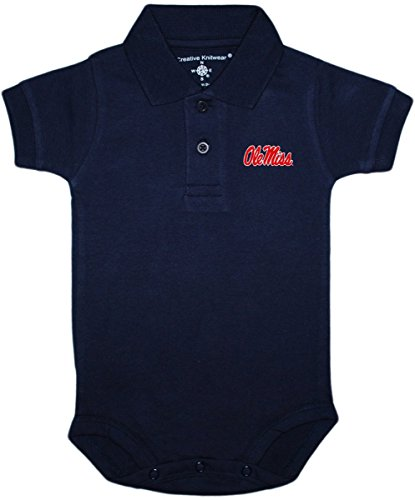 Ole Miss Polo Shirts (University of Mississippi (Ole Miss) Rebels Newborn Polo Bodysuit, Navy, 3-6 Months)
