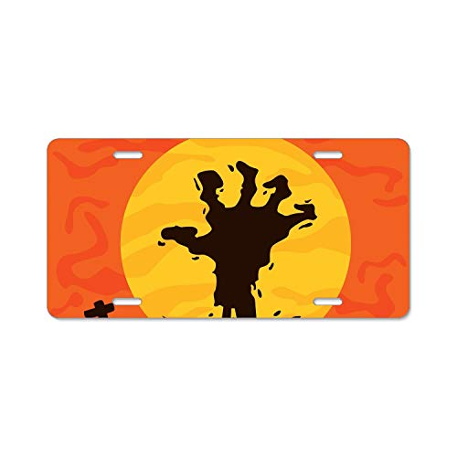 Zogpemsy Halloween Hand License Plate Covers Chrome License Plate Frame Tag Holder 4 Holes -