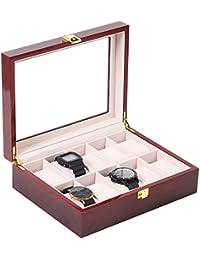 NEX Watch Box Organizer, 10-Slot Glass Top Lid Watch Case Watch Display Holder for Men, Cherry Wood