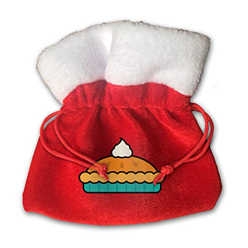 NRIEG Pumpkin Pie with Whipped Cream Christmas Candy Bags Santa Claus Gift Treat Sacks with Drawstring Xmas Stocking Ornaments Decor Handbag