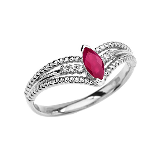 (14k White Gold Diamonds And Solitaire Marquise Ruby Beaded Modern Engagement Ring(Size 75))