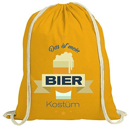 ShirtStreet Bier Kostüm Turnbeutel für Bierfreunde Fasching Karneval Gelb Natur