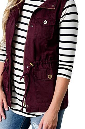 Fall Outerwear Womens Red Jacket Winter Wine H Waistcoat Sleeveless amp;E Vest PqaCYO