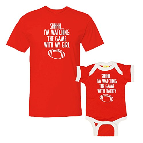 We Match!! - Shhh… I'm Watching The Game with My Girl/with My Daddy - Matching T-Shirt & Ringer Baby Bodysuit Set (18M Bodysuit, T-Shirt XL, Red T-Shirt, Red/White Ringer, White Print)