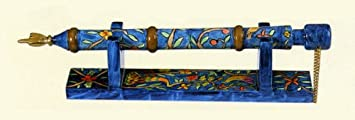 Yair Emanuel Hand Painted Wooden Yad – Torah Pointer With Stand Oriental Design TP-2
