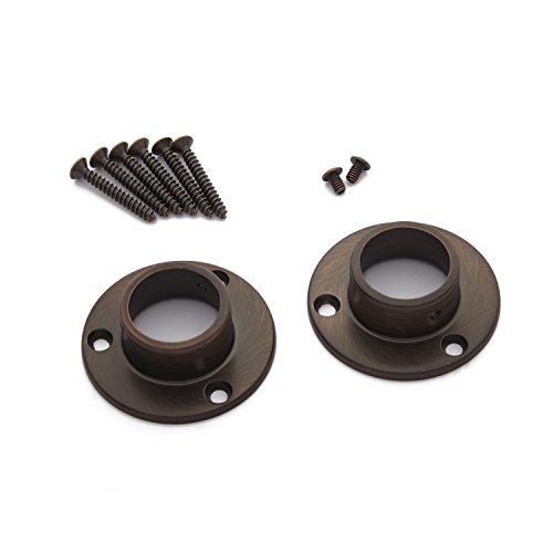 Naiture Brass Shower Curtain Rod Flanges-set of 2 in Oil Rubbed Bronze Finish