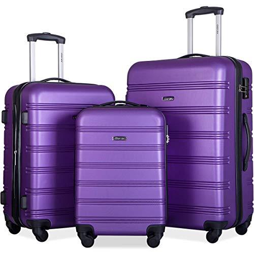 Merax Expandable Luggage Sets with TSA Locks, 3 Piece Lightweight Spinner Suitcase Set (Purple)