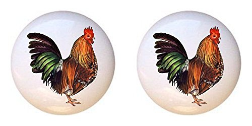 SET OF 2 KNOBS - Bloucher Spur Rooster - Chickens - DECORATIVE Glossy CERAMIC Cupboard Cabinet PULLS Dresser Drawer KNOBS