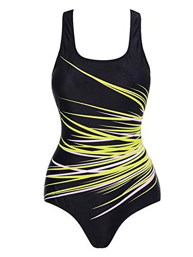Zando Vintage One Piece Beach Swimsuit For Women Athletic Bathing Chlorine Resistant Swimsuit Sports Swimwear Monokini Yellow 4XL (US - Resistant Chlorine Bikini