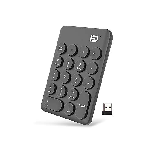 USB Keypad,Attoe Wireless Numeric Keypad Full Size 18-Key Portable Slim Mini Number Pad with USB Receiver, Connect Distance 30m for Laptop Desktop PC Notebook (Black) by Attoe