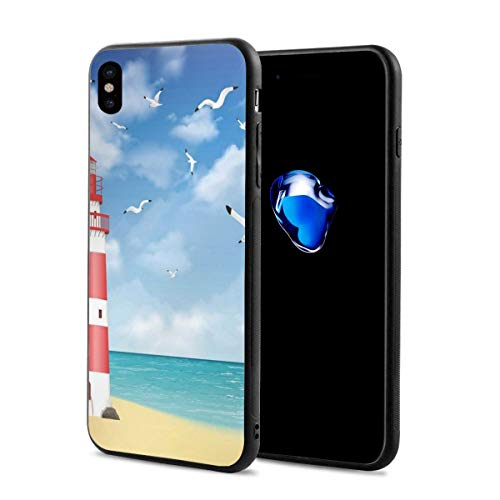 Phone Case Cover for iPhone X XS,Realistic Illustration Lighthouse On Calm Seashore Flying Seagulls Ocean Scenery,Compatible with iPhone X/XS 5.8