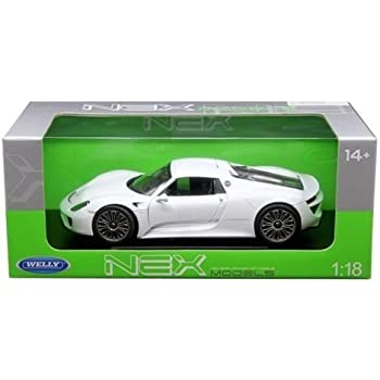 New 1:18 W/B WELLY COLLECTION - WHITE PORSCHE 918 SPYDER Diecast Model Car By Welly