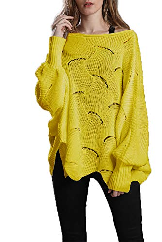 HZSONNE Womens' Casual Boho Batwing Ruffle Hem Loose Fit Crochet Ripped Sweater Knit Pullover Tunic Jumper Tops (Yellow, Large)