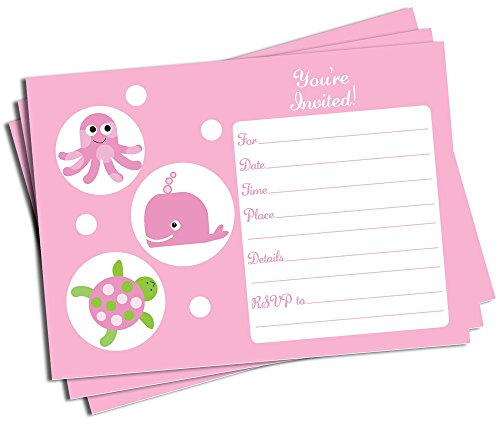 50 Pink Under the Sea Invitations and Envelopes (Large Size 5x7) - Baby Shower - Birthday Party - Any Occasion, Whale, Octopus, Sea Turtle