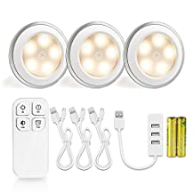 Morpilot 3 Pcs Puck light Rechargeable Remote Control 5 LED Under Cabinet Light Wireless Spot Light Closet Light Stick-On Anywhere Tap Lights for Cabinets Closets Attics Garages Car Sheds Storage Room 3500K Natural Warm White,