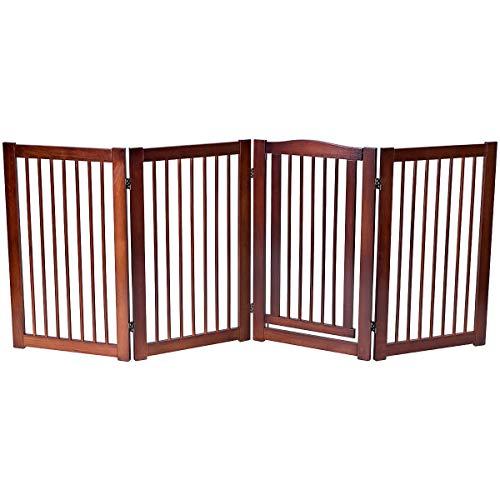 Giantex 36 Configurable Folding Free Standing Panel Wood Pet Dog Safety Fence w/Gate (88 W)