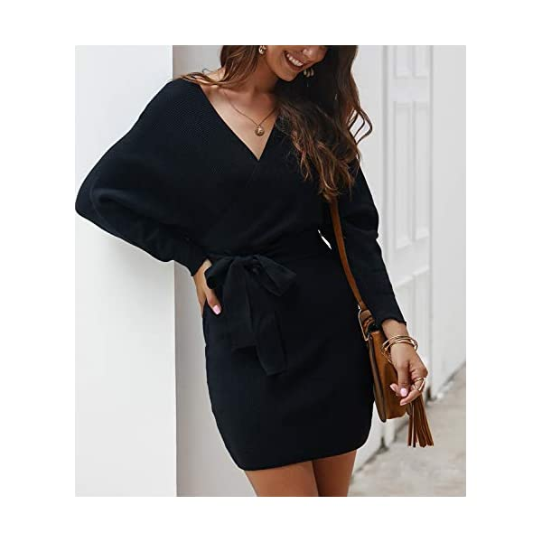 Women's Sexy Cocktail Batwing Long Sleeve Backless Mock Wrap Knit Sweater Mini Dress